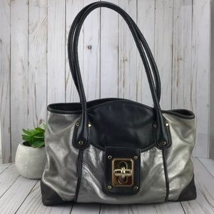 ‼️FINAL PRICE‼️B Makowsky Blk/Gray Leather Bag